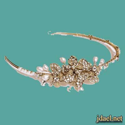 اطواق وتيجان كرستال لتسريحات شعر العروسه ليلة الزفاف