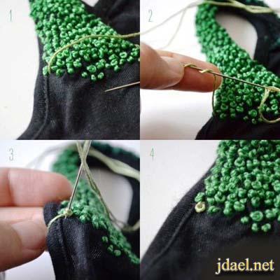 العقدة الفرنسية وتطريز روعه على الملابس والمفارش والشنط