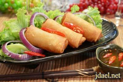 معجنات صيني سبرنج رول بالدجاج والخضار بالطريقة الصينية