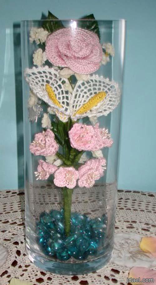 ابداع الكروشيه للورد الايطالي للسلال وفازات الزجاج باجمل باقات ورد