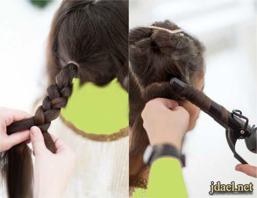 تسريحة شعر بالضفيرة الخلفية وروعة التصفيف بيدك بالصور