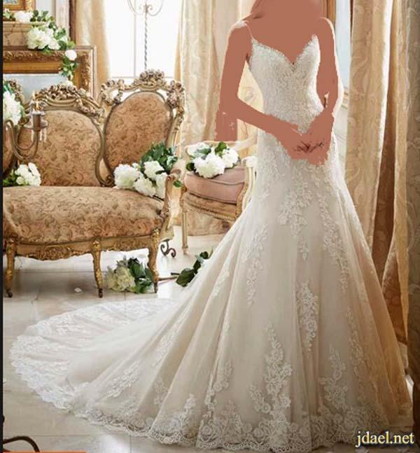 فساتين دانتيل اعراس فخمه للعروسه ليلة الزفاف