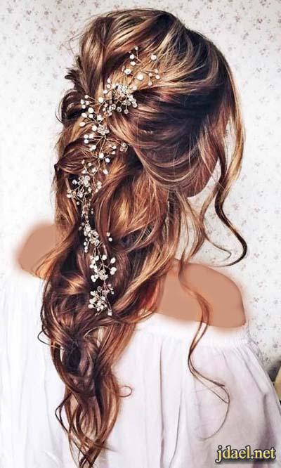 تسريحات شعر طويل ومفتوح للعروسه العصريه ليلة العرس
