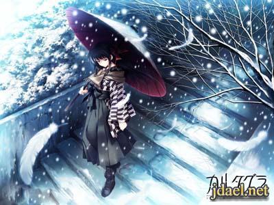 صور انمي الشتاء تحت المطر والثلج للبنات