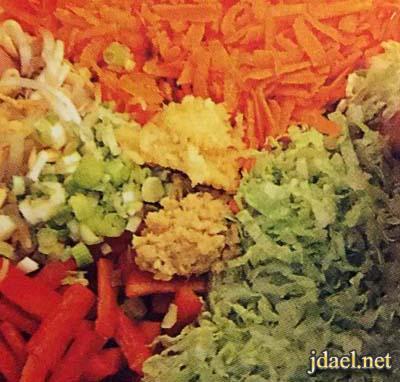 معجنات رمضان رول اللحم المفروم بالخضار والزنجبيل بالصور