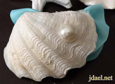تزيين سلال الخزف بالصدف واحجار السراميك الملون والشرايط