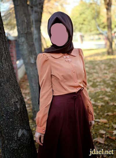 تنانير وبلايز واحلى لفات الحجاب للمحجبات