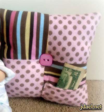 خياطة مخدات غرف نوم اطفال بالجوخ والخيش بيدك