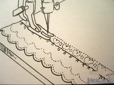 تطريز مناشف الحمام بالخيوط الملونه وتزيين الفوط بالدانتيل والشرائط بالباترون