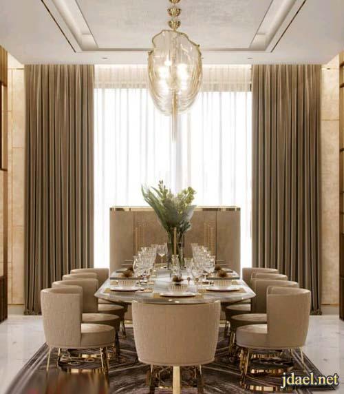 ديكور غرف طعام كلاسيك فخمة بالوان راقية وعصرية