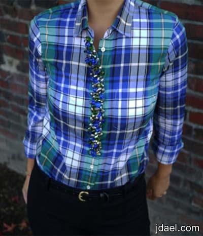 بالابره والخيط اجمل تطريز بالخرز الملون على القميص النسائي بشكل