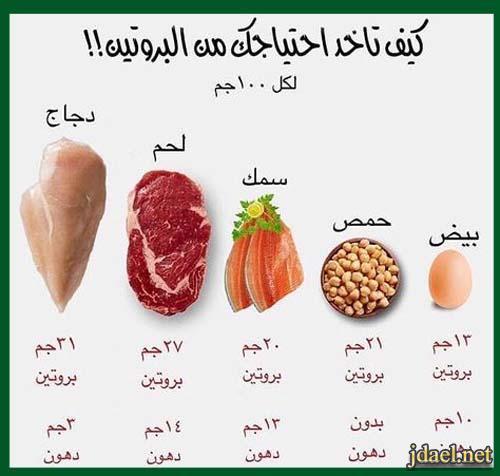 ذكر نسبة البروتين والدهون وعدد السعرات الحرارية للاطعمة