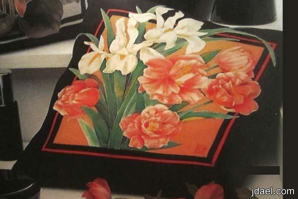 ارسمي على الحرير اجمل انواع الزهور والورود لخداديات الصالون