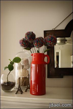 باقه الورد بكور الصوف كور الصوف تصنع ورود عمل وردة