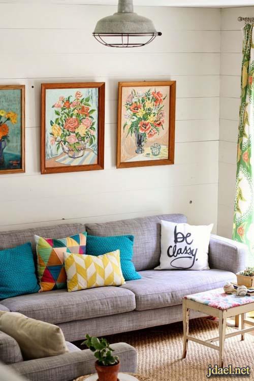 ديكور ومفروشات عصرية لغرف المعيشة باللون الازرق تيفاني تركواز