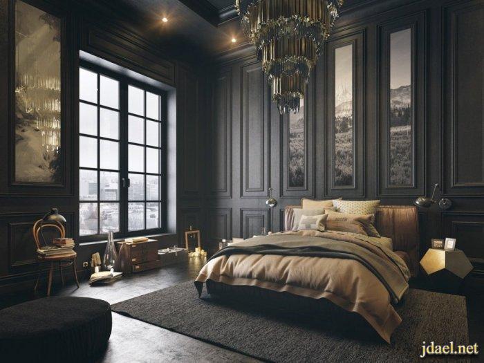 تصاميم ديكورات داخلية لغرف النوم جديد الستائر وورق جدران وأسقف