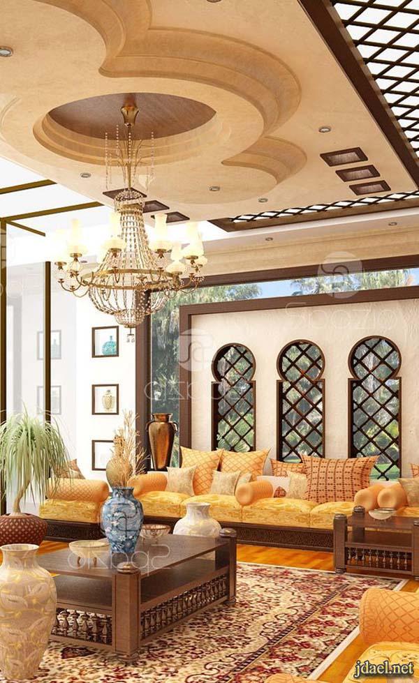 مجالس عربية فخمة جبس اسقف تركي جدران ارابيسك اثاث مغربي