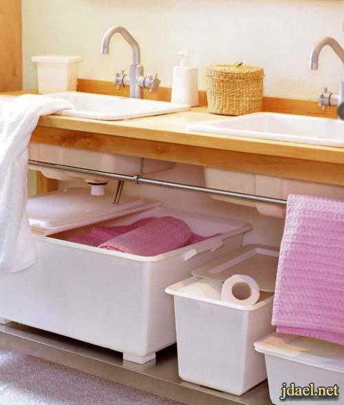 ديكورات حمامات صغيرة المساحه باستغلال ذكي