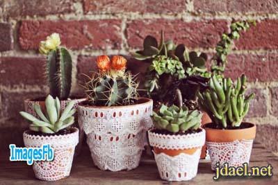 تزيين اصيص النباتات الصناعيه بالكتان واقلام الرصاص والطباعه