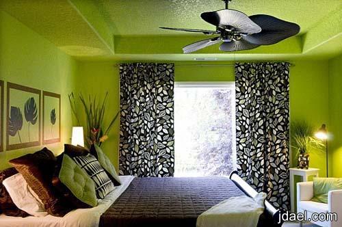 ديكورات واكسسوارات غرف نوم ناعمه باللون الكيوي