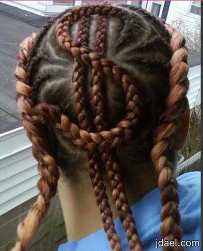تسريحات ضفاير الشعر الرفيعه بتصفيف افريقي للبنات