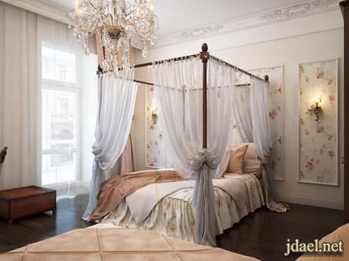 ديكور غرف نوم رومنسيه باللون الابيض تصميم كلاسيك