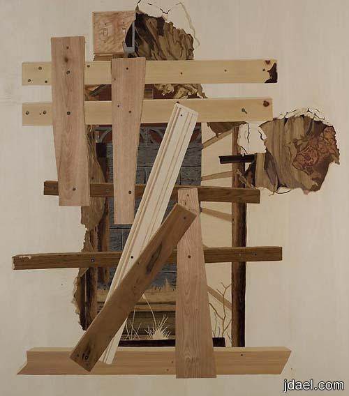 فنون مادة اللك وقشور الخشب لوحات الفنانه إليزابيث اليسون