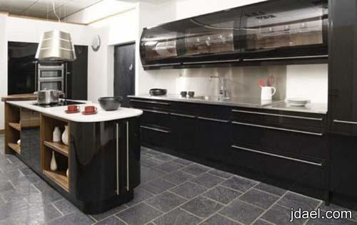 مطابخ عصريه باللون الاسود   ديكور مطبخ فخم   تصاميم دواليب المطابخ