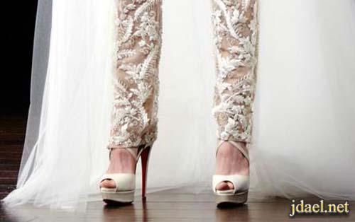 احذية براقة فخمة باللون الابيض اوف وايت للعروسة ليلة الزفاف