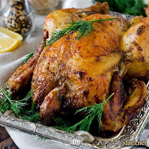 تحضير الدجاج المشوي الشهي بالأعشاب والليمون