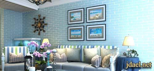 ورق جدران موديل الطوب باللون ازرق .ابيض تيفاني رمادي