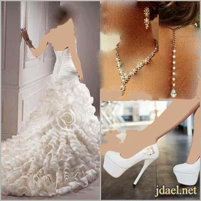 فساتين العروسه تطريز كرستال وصدور دانتيل واكسسوارات راقيه