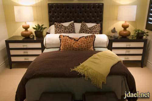 صور غرف نوم بالوان داكنه بديكور واثاث مميز