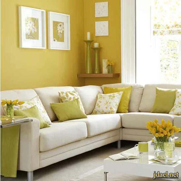 ديكور غرف استقبال ومعيشه باللون الاصفر والرمادي والابيض