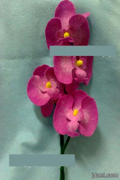 استخدام قماش الجوخ لعمل وردة الاوركيد بالوان الطبيعه