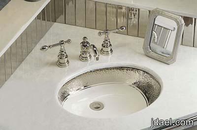 مغاسل حمامات انتيك ذهبي وفضي وروعة السيراميك والرخام المزخرف