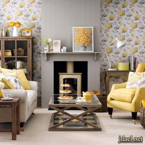 ديكور روعة باللون الاصفر في غرف الجلسة والصالة