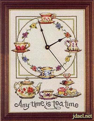 تطريز خيال على الايتامين بتصميم ساعة حائط بالباترون المنوع