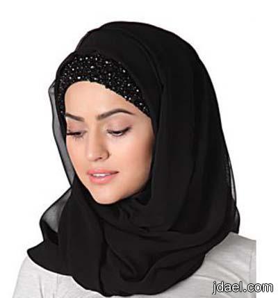اكسسوارات روعه للفات الحجاب وارقى موديلات طرح المحجبه بتطريز الدانتيل والترتر