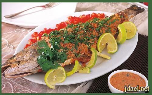 صينية سمك بالفرن بطعم الفلفل الحار والزنجبيل واحلى تتبيلة سلطه