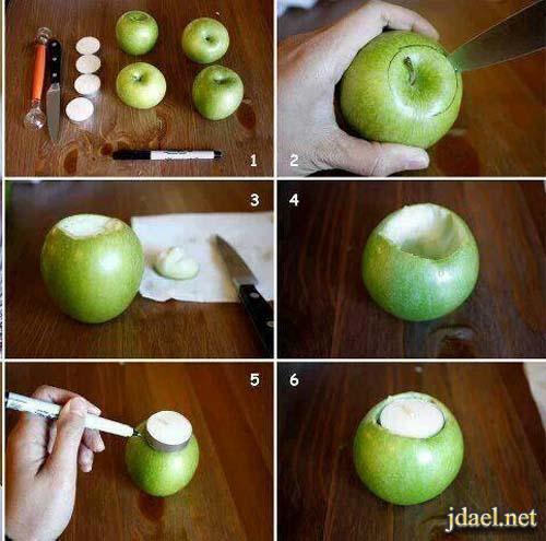مهارات يدويه روعه لعمل الفاكهه شمعدانات بالتفاح للشموع