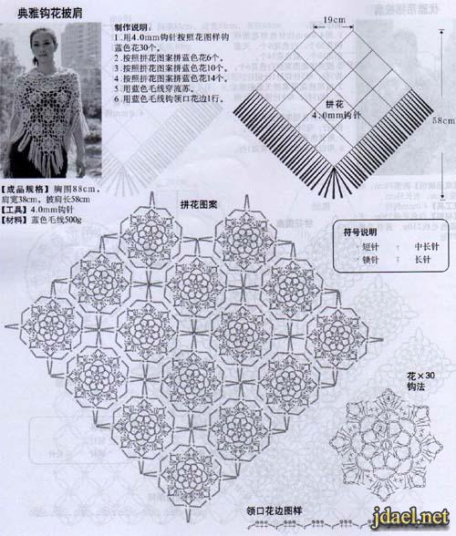 شالات وبلايز كروشيه وتريكو نسائية بالباترون بونشو كروشيه