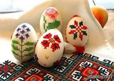 خطوات التطريز على قشر البيض بالصور تطريز بالكروشيه وخيوط الحرير ابداع