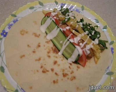 طريقة عمل الخبز الشامي بالبيت الخاص بالساندوتش سندوتشات كباب الدجاج والبطاطس