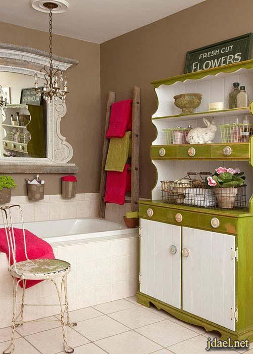 اروع ديكور حمامات صغيره واكسسوارات والوان للحمام تحفه