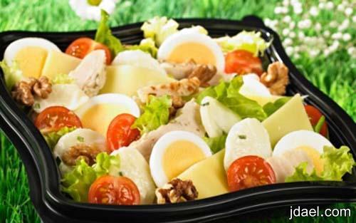 تحضير طبق سلطة الدجاج وشرائح الجبن والخضار سلطة الخضر بالدجاج