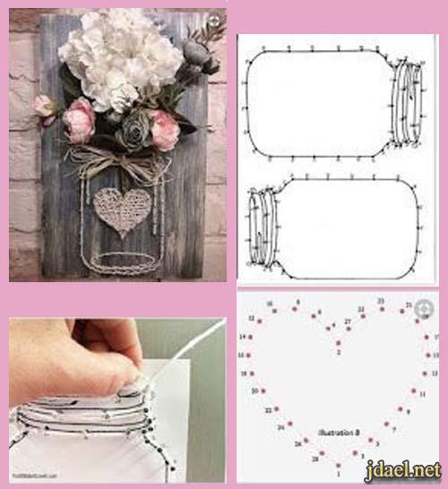 لوحات فنية بالمسامير والحبال اطواق الورد للابواب بفكرة حلوة