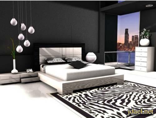 ديكورات ودهانات غرف نوم باللون الاسود والابيض والرمادي   منتدى جدايل