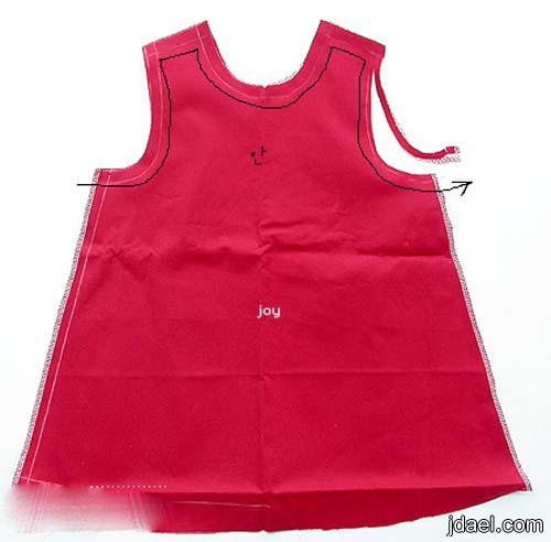 خطوات خياطة فستان قصير للبنوته الباترون والصور