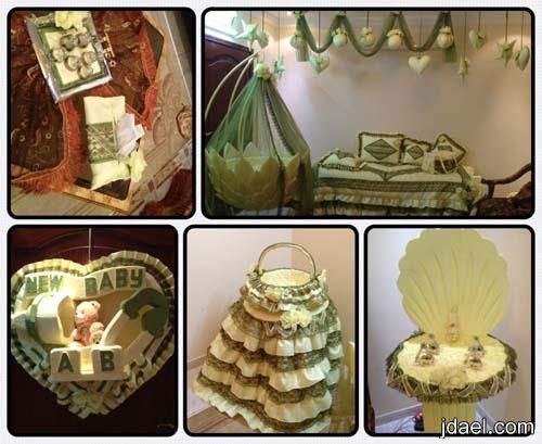 ترتيبات وتزيين لغرفة النفاس بدانتيل مع التوزيعات -غرف الاستقبال بعد الولاده